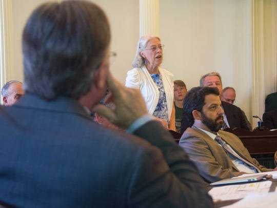 Sen. Peg Flory, R-Rutland, speaks on the floor of the Vermont Senate during a discussion of a third attempt at a budget and tax bill on Thursday at the Statehouse in Montpelier.