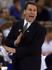 Michigan State coach Tom Izzo yells from the sidelines