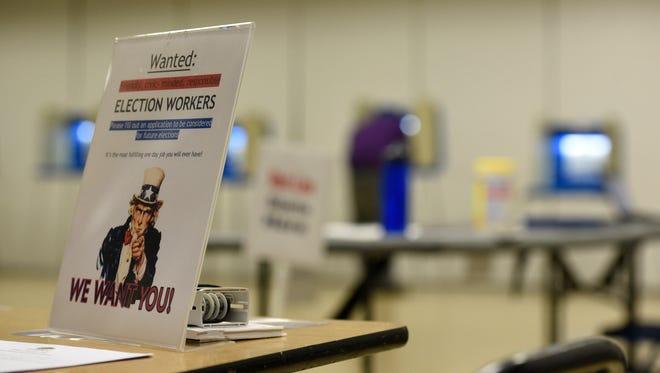 Precinct 4 at Farmington Hig School with one voter around 5 p.m. Tuesday.
