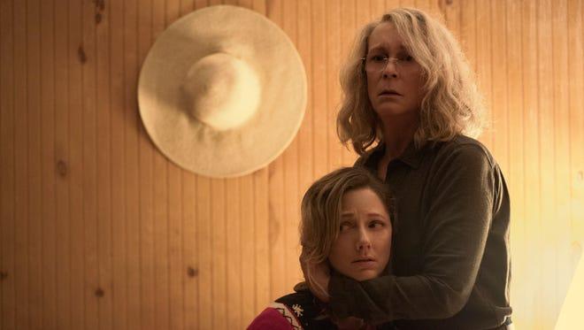 "Judy Greer (left) stars with Jamie Lee Curtis in ""Halloween."""