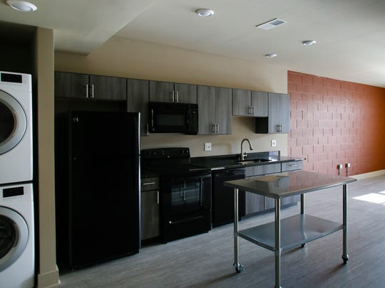 A view inside one of the apartments in the Gillespie Company's mixed-use development project on E. Michigan Avenue in Lansing.  It features first floor commercial space, and residential units on the top three floors.