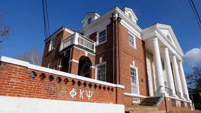 The Phi Kappa Psi fraternity house at the University of Virginia in Charlottesville, Va., in November 2014.