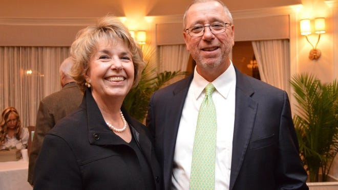 Penny Chandler, president of the Indian River County Chamber of Commerce, seen with TCPalm President and Publisher Bob Brunjes, announced her retirement Monday, Oct. 16, 2017.