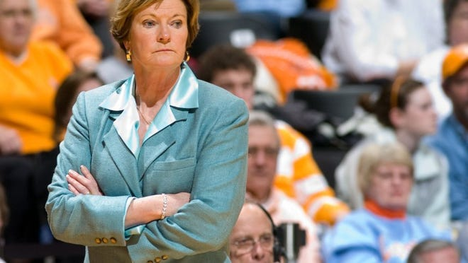 Tennessee women's basketball head coach Pat Summitt watches her team against Auburn. The Tennessee Lady Vols defeat the Auburn Tigers 85-56 at Thompson-Boling Arena on Thursday, Jan 28, 2010.