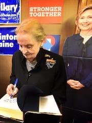 Former Secretary of State Madeleine Albright autographs