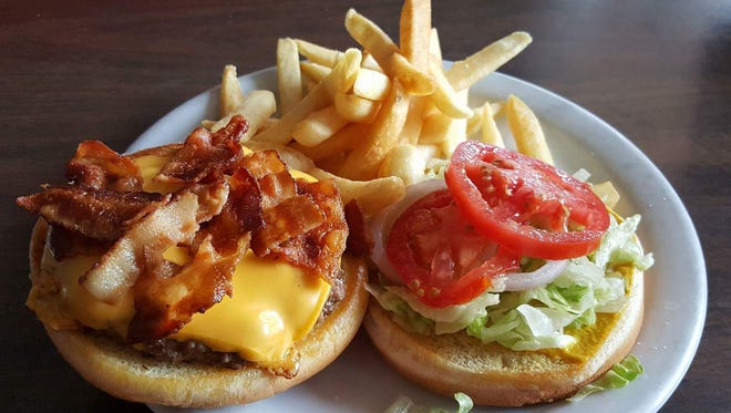 Cheeseburger with bacon ($7, bacon $1.25) with a side of fries from The Pit Stop 292 Café.