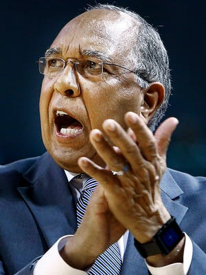 University of Memphis head coach Tubby Smith during action against Tulsa University at the Donald W. Reynolds Center in Tulsa, Oklahoma.