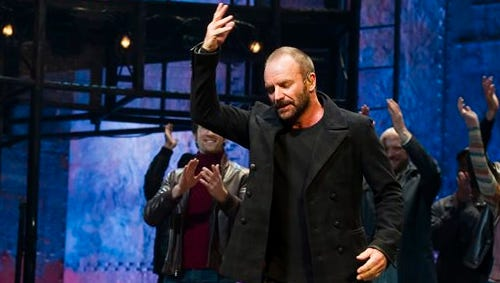 """Sting appears at the curtain call following his debut performance in Broadway's """"The Last Ship"""" on Tuesday in New York."""