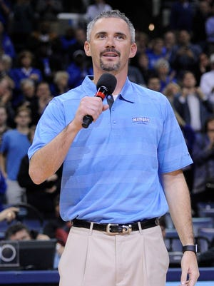 Memphis Tigers head football coach Mike Norvell is introduced during halftime of a basketball game between the Memphis Tigers and the Southeast Missouri State Redhawks at FedExForum.