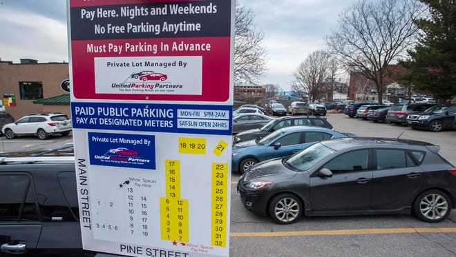 A Unified Parking Partners parking lot on Pine Street in Burlington on Tuesday, February 28, 2017.