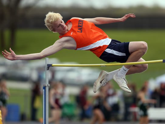 Mountain Lakes' Jake Marshall clears the bar during