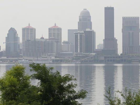 TITLE: Haze shrouds Louisville Skyline