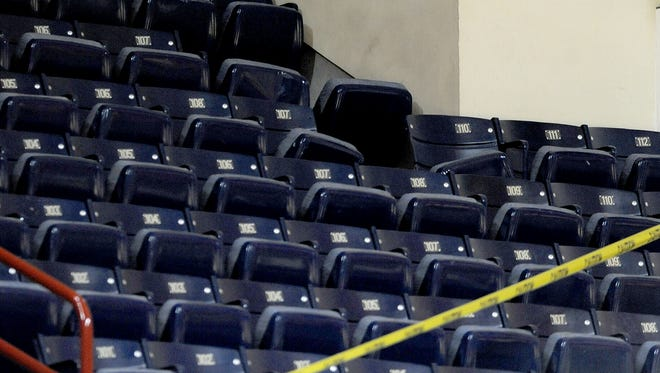 Section F is roped off after a piece of metal facing fell from the ceiling of Assembly Hall, Tuesday, Feb. 18. Remediation of the problem related to that incident will be completed in time for IU to host Iowa in a rescheduled game next Thursday.