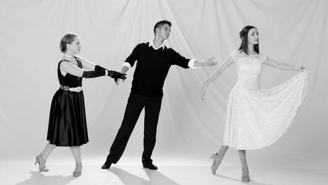 """""""An American in Paris"""" dancers in the classic love triangle. Milo (Emalee Schneider, left) chasing the American artist Jerry Mulligan (Zeke Grado), who falls for Lise (Colleen Grey)."""