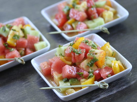 Watermelon and Hairloom Tomato Salad