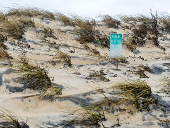 "A ""Please Keep Off The Dunes"" sign in South Bethany"