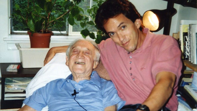 Mitch Albom with Morrie Schwartz, his professor from Brandeis University in Massachusetts. After Albom's graduation in 1979 they lost touch. They were reunited as Schwartz was dying.