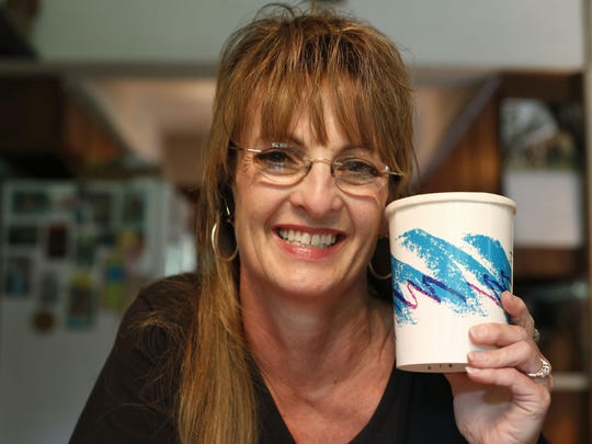 Gina Ekiss designed the Jazz pattern found on plates, cups, and a number of other disposable items. She keeps some products with the design at her home in Aurora.