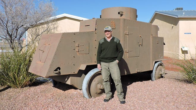 Pancho Villa State Park Manager John Read stands in front of a Jeffrey armored vehicle, circa 1915, that sits on the park grounds. Staff at the park plan on participating with other organizations when the 100th anniversary of Villa's raid on the border town of Columbus is acknowledged, March 9-12 in Columbus.