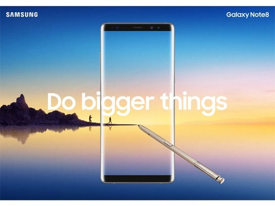Samsung Galaxy Note8 advertisement featuring the phone overlaid with the text
