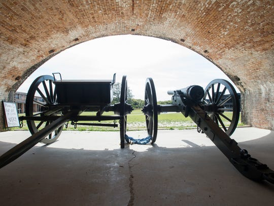 The new Parrott rifle replica is seen at Fort Pickens