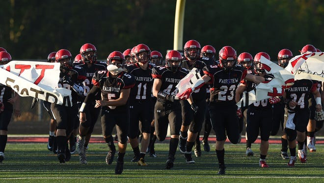 In this 2018 file photol, Fairview takes the field to play Girard on at Keck Field at Jack Bestwick Stadium, Fairview High School. Fairview will host Mercyhurst Prep on Saturday night.