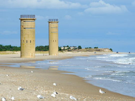 World War II observation towers, used for defending the Delaware Bay at Fort Miles in Lewes, still stand after 60 years of exposure to the elements in Cape Henlopen State Park.