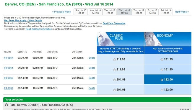 A screenshot of Frontier Airlines' website on April 28, 2014.