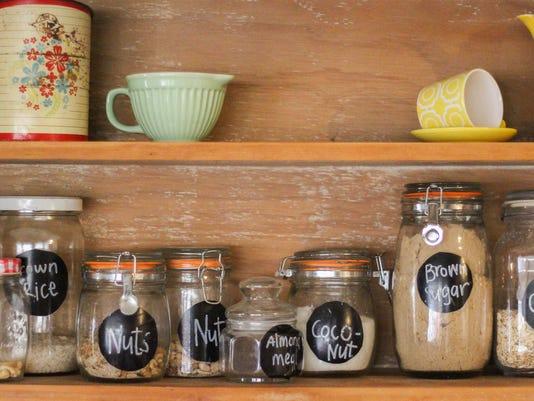 Vintage Kitchen Hutch with baking ingredients