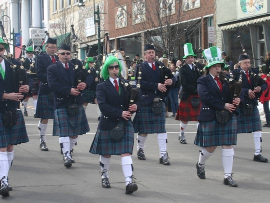 The Celtic Blue Highlanders march in the 2013 Grand Ledge St. Patrick's Day Parade.