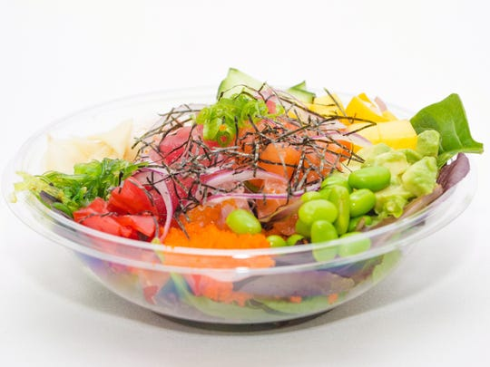 One of the poke bowls available at Pokedon in Tempe.