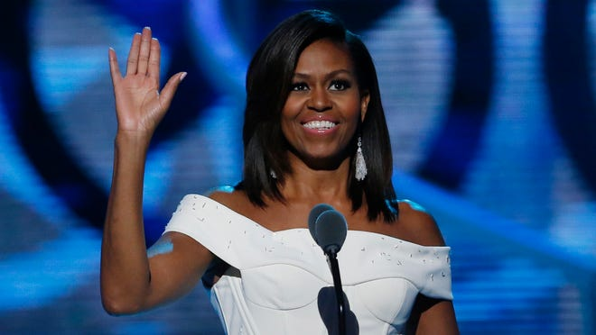 First Lady Michelle Obama speaks during a taping of the Black Girls Rock award ceremony at the New Jersey Performing Arts Center Saturday in Newark.