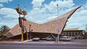 """The Kon Tiki Hotel, 2364 East Van Buren, Phoenix. Certainly the last and greatest of the hotels and motels on Van Buren. """"A little bit of Waikiki in the heart of Phoenix."""" It was as nice as any hotel in town, and it marked the end of an era. Jet airplanes had arrived at Sky Harbor and Van Buren was already in decline."""