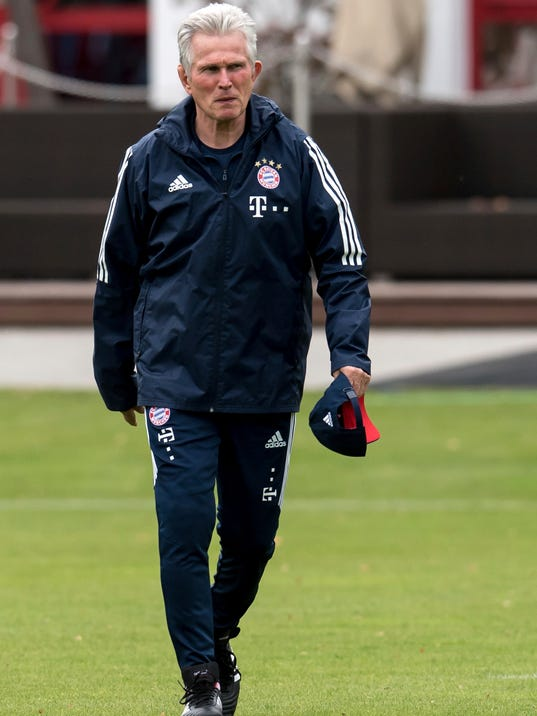 Bayern Munich's new coach Jupp Heynckes arrives for the first training after his presentation in Munich, Germany, Monday, Oct. 9, 2017. Heynckes coached the Bundesliga team already from 1987 to 1991, 2009 and from 2011 to 2013. (Sven Hoppe/dpa via AP)