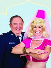 """Ginger, who is frequently at the Royal Oaks fitness center, and Roger Pinneke pose for """"I Dream of Jeanie."""""""