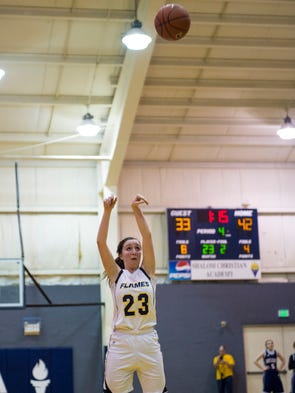 Shalom's Lydia Harris take a shot scoring her 1,000th