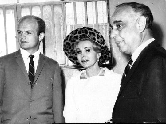 From right, Los Angeles attorney Manuel Ruiz, Zsa Zsa Gabor and Carl Parsons are shown during her divorce proceedings in 1967.