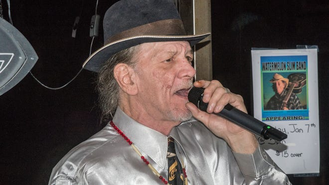 Blues musician Watermelon Slim and his band played indoors to a packed house Sunday, Jan. 7, 2018, at Capitol Oyster Bar in Montgomery.