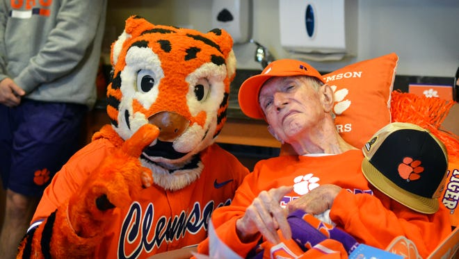Spencer Glenn, 83, got a surprise visit from the Clemson Tiger at his nursing facility in Greenville on Friday, March 2, 2018.