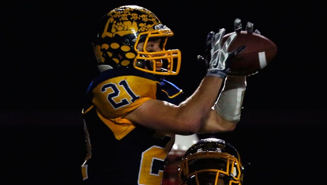 South Lyon's Tim McPhee intercepts a pass against Canton on Oct. 17.