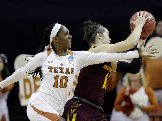 Texas guard Lashann Higgs (10) and Arizona State guard Robbi Ryan (11) battle for control of the ball during a second-round game in the NCAA women's college basketball tournament, Monday, March 19, 2018, in Austin, Texas. (AP Photo/Eric Gay)