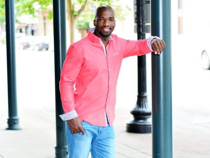 Damarice Sims in a Coral Stone Rose shirt $159 and DL 1961 jeans $168, at Don Alans.