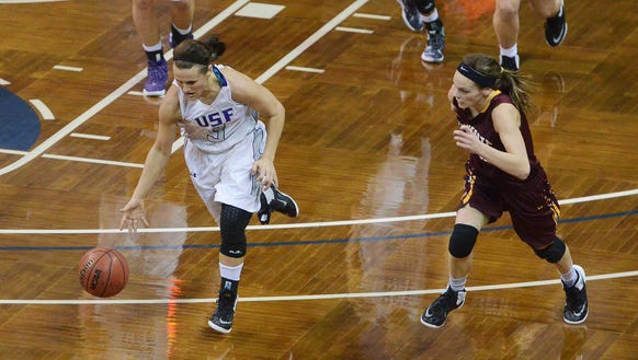 USF's Taylor Varsho (3) dribbles down the court alongside