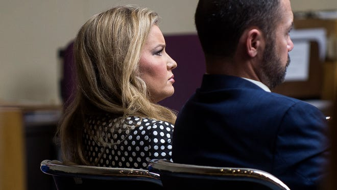 Allison Burchett, left, accepted a plea deal in the cyber harassment case filed against her during her hearing in Knox County Criminal Court on Thursday, May 25, 2017.