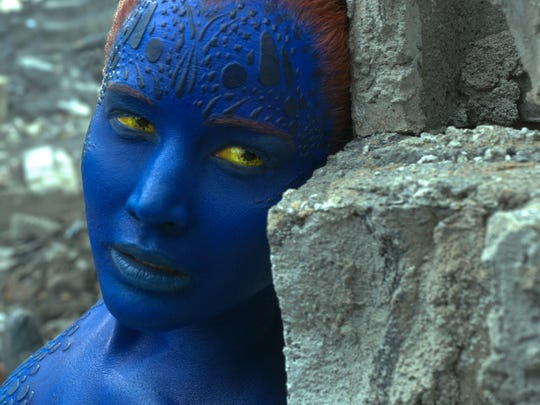 Mystique (Jennifer Lawrence) is in battle with Apocalypse