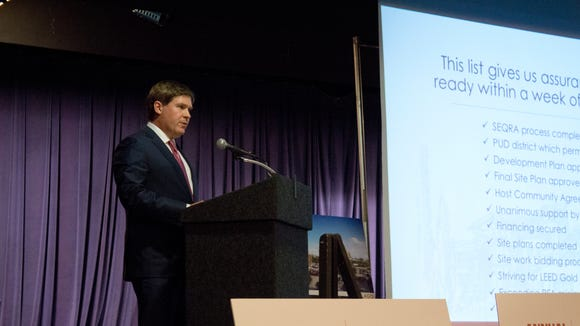Thomas Wilmot Jr. gives a presentation on Lago Resort & Casino in Albany in early September.
