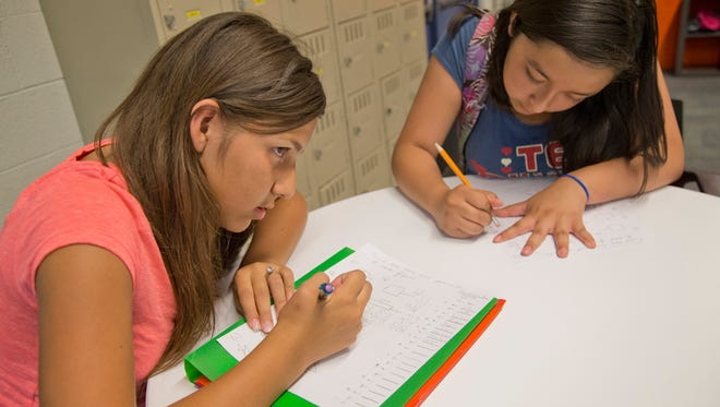 Jessica Sandoval (left) and Samantha Lozano use the new teen-center space to work on homework after school.