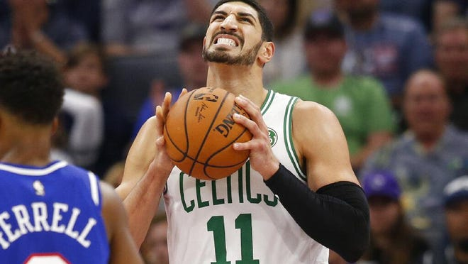 """Celtics center Enes Kanter, shown in a November game, said after Friday's exhibition loss: """"Obviously after four months, it's always nice to be out there with my teammates."""""""