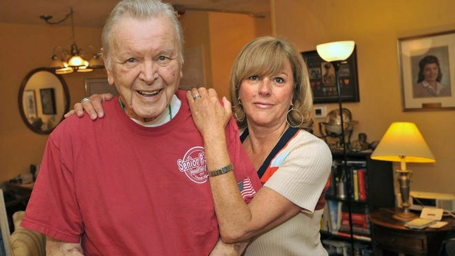 Ed Whittaker, 99, of Weymouth recovered from COVID-19, a stroke and pneumonia to return to his apartment at Gaslight Village. His daughter, Kim Whittaker, of Winchester is his health care proxy and helped to decide on his treatment. Saturday, June 6, 2020. Tom Gorman/For The Patriot Ledger