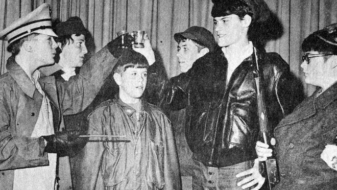 """Boys of the ninth grade German class at Redwood Falls High School presented a skit based on the TV show """"Hogan's Heroes"""" at the dinner sponsored by the German Club, as seen in this photo that first appeared in the Nov. 17, 1970 Redwood Gazette."""